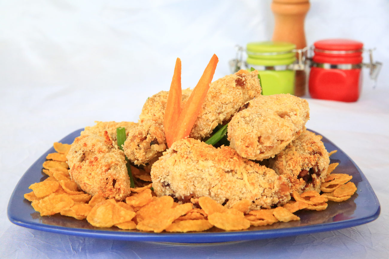 Chicken wings aux Corn Flakes